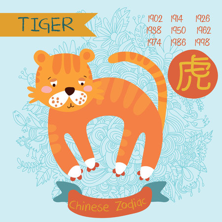 Cute Chinese zodiac sign -tiger. Vector illustrationyearsChinese character. Doodle hand-drawn style