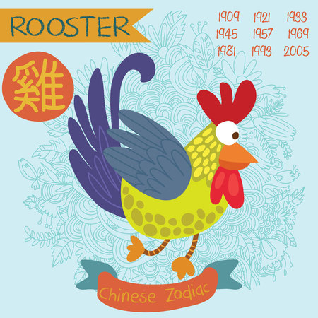 Cute Chinese zodiac sign - rooster. Vector illustrationyearsChinese character. Doodle hand-drawn style
