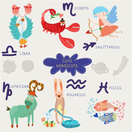 Cute horoscope. Zodiac set. Libra,scorpio,sagittarius, capricorn, aquarius, pisces  イラスト・ベクター素材