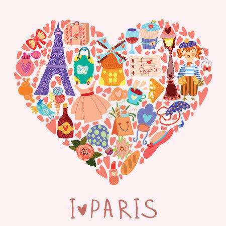 bright colors: Greeting card-I love Paris. With many vector cute elements Stylish design element in bright colors