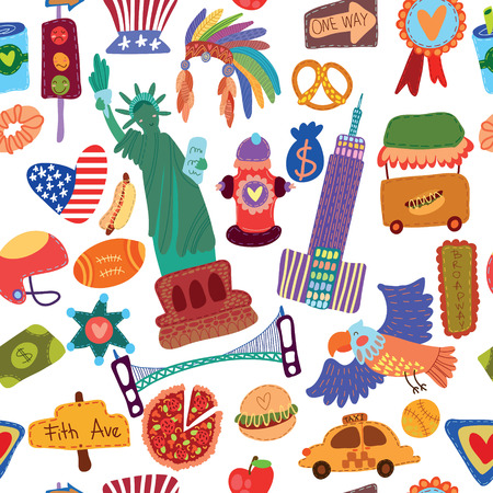 new york taxi: Cartoon seamless pattern with American elements. Seamless pattern can be used for wallpaper, pattern fills, web page background,surface textures. Illustration
