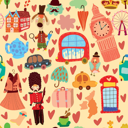 telephone booth: Cartoon seamless pattern with London elements. Seamless pattern can be used for wallpaper, pattern fills, web page background,surface textures. Illustration