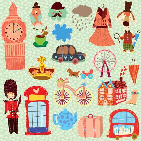 telephone booth: London cute set (A set of cartoon design elements) Illustration