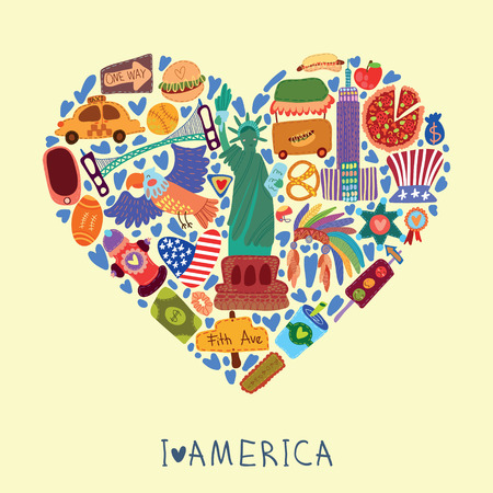 ny: Greeting card-I love America. With many vector cute elements Stylish design element in bright colors