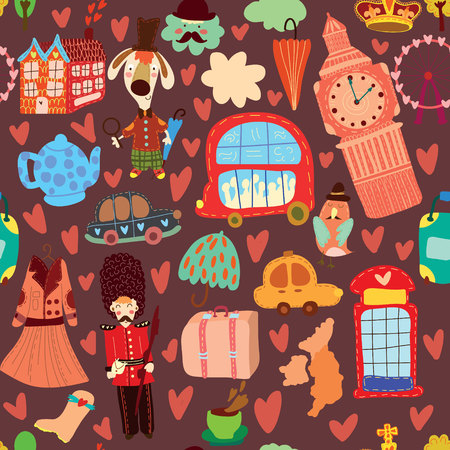Cartoon seamless pattern with London elements. Seamless pattern can be used for wallpaper, pattern fills, web page background,surface textures. Illustration