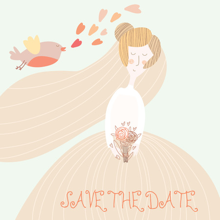 pretty blonde girl: Cute romantic wedding invitation card with beautiful bride.Vector save the date background. Young woman with wedding flowers. Illustration