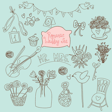 wedding bouquet: Cute wedding vector set. Couple of lovers, bow-tie, candies, bouquet, dove, cakes, cocktail and other romantic elements for stylish designs and wedding invitations
