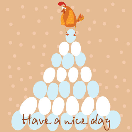 good mood: Stylish card with cute chicken for good mood
