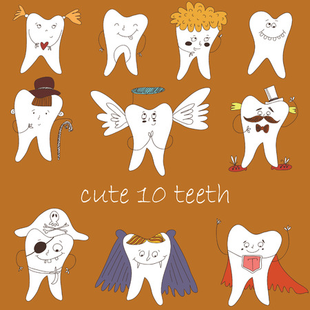 vector cartoons: Dental collection for your design. Many various vector cartoons - pirate,angel, vampire etc. Illustrations for children dentistry about toothache and treatment.