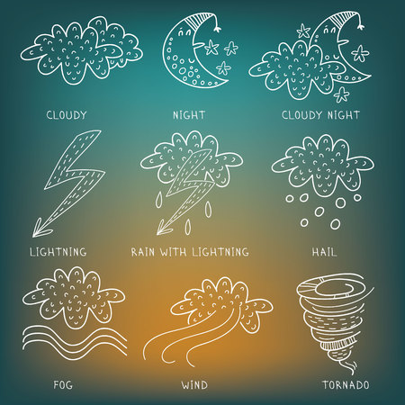 drizzle: Weather symbols sketch. Part 2 Vector illustration of weather icon