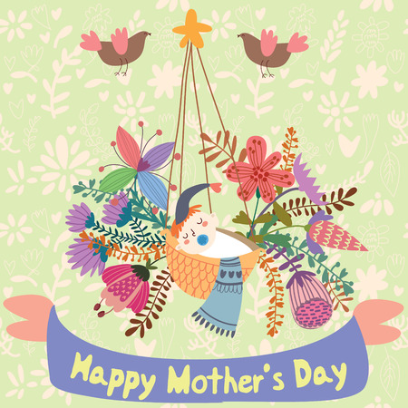 cradle: Happy Mothers day - greeting card in cartoon vector style