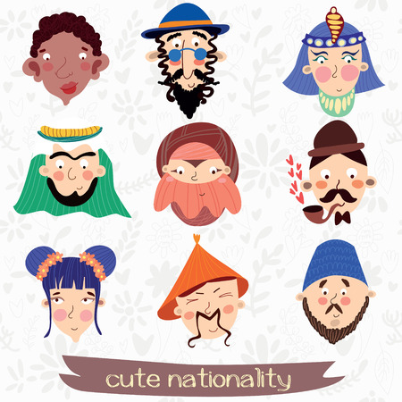englishman: Nine nationalities: African, Jew,Muslim, Englishman, Korean and other Cute characteristic faces