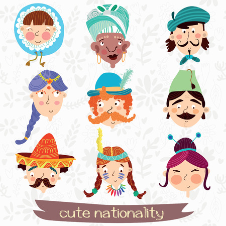 chinese ethnicity: Nine nationalities: Eskimo, African, French,Mexican, German and other. Cute characteristic faces