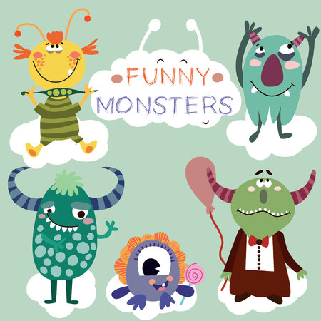 whimscal: Vector set with cartoon cute monsters Illustration