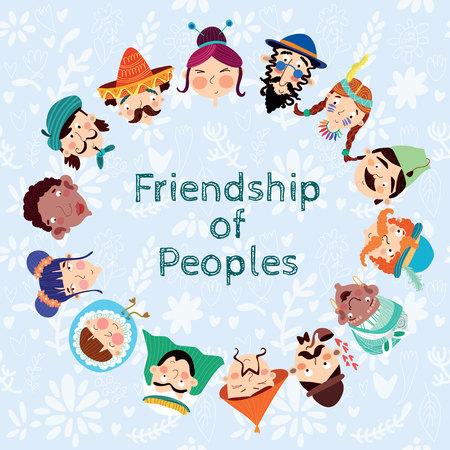 amistad: Amistad de los Pueblos - Tarjeta agradable con muchas nacionalidades Vectores