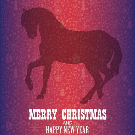 year of horse: Christmas Greeting Card .Year of horse.