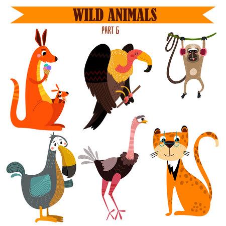 selva caricatura: configuración animales salvajes en estilo de dibujos animados.