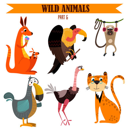 ostrich: set-Wild animals in cartoon style.