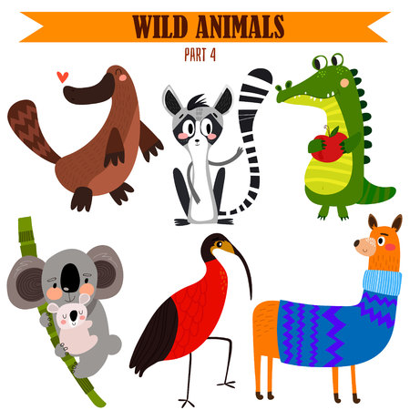 set-Wild animals in cartoon style.  일러스트