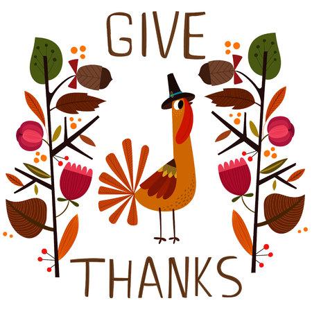 Mooie vector kaart of poster voor Happy Thanksgiving met leuke Turkije. - Voorraad vector