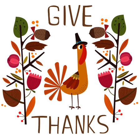 Lovely vector card or poster for Happy Thanksgiving with cute Turkey. - stock vector Illustration