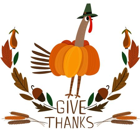 give thanks to: Happy Thanksgiving Day card with cute turkey in bright summer colors. Illustration