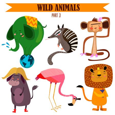 flamingi: Vector set-Wild animals in cartoon style.