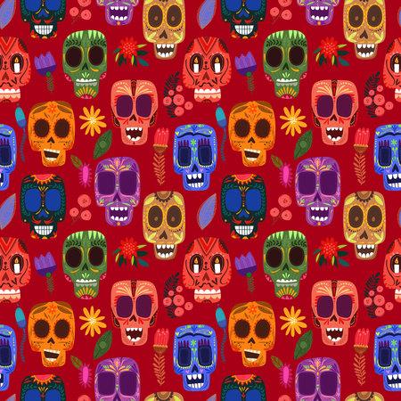 squelette: Seamless jour des morts-modèle mexicain.