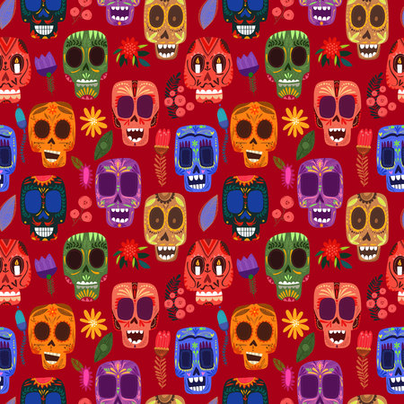 religion: Seamless pattern-Mexican day of the dead.