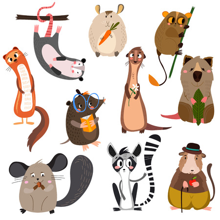 set of small mammals in cartoon style.