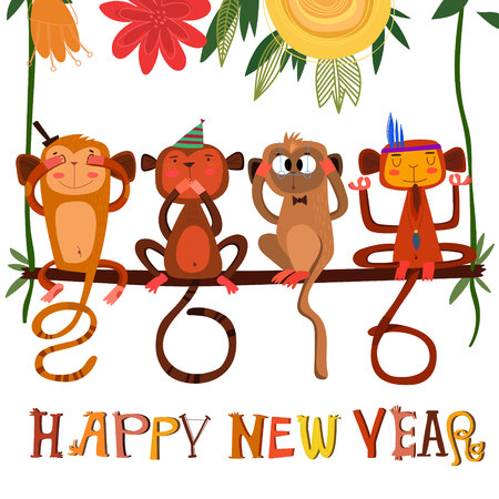 happy new year: 2016 concept New Year background of Three wise monkeys  Illustration