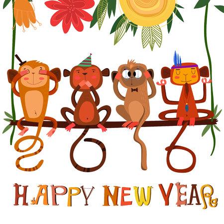 monkey: 2016 concept New Year background of Three wise monkeys  Illustration