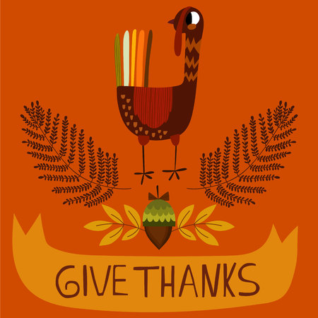 indian thanksgiving: Lovely vector card or poster for Happy Thanksgiving with cute Turkey.  Illustration