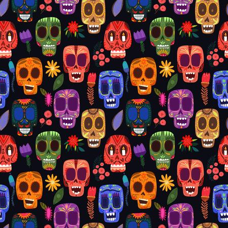 tete de mort: Seamless jour des morts-modèle mexicain.