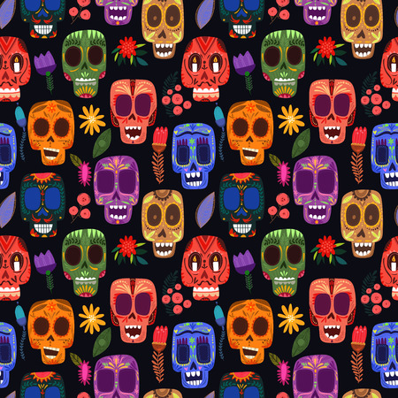 skull: Seamless pattern-Mexican day of the dead.