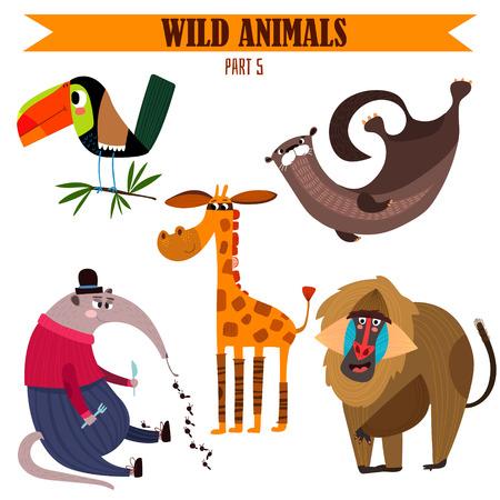 zwierzaki: Wektor zestaw-Dzikie zwierzęta kreskówki style.ctor