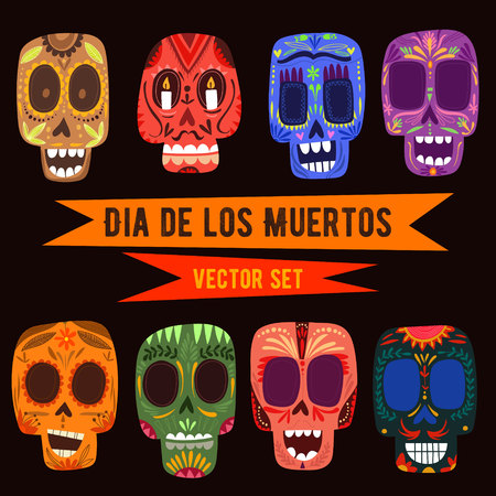 dark backgrounds: Cute skulls set. Mexican day of the dead. Funny characters in a colorful style.