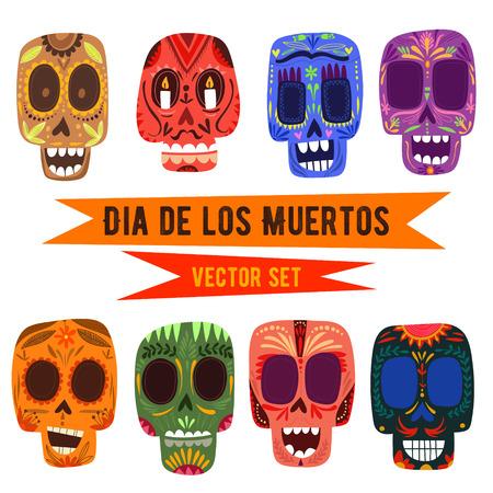 Schattige schedels set Mexicaanse dag van de doden.
