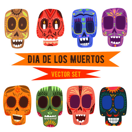 Cute skulls set Mexican day of the dead.