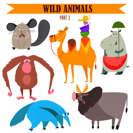 chimpanzees: set-Wild animals in cartoon style.
