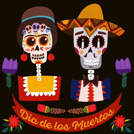 skull design: Mexican sugar skull-Day of the dead.