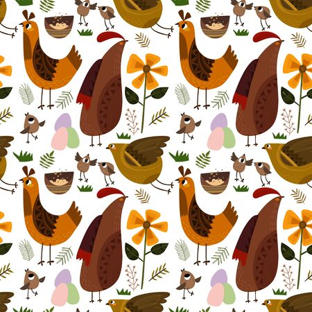 Funny chiken in flowers. Bright spring background in vector. Seamless pattern can be used for wallpapers, pattern fills, web page backgrounds, surface textures