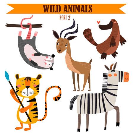 漫画のスタイル セット野生動物。  イラスト・ベクター素材