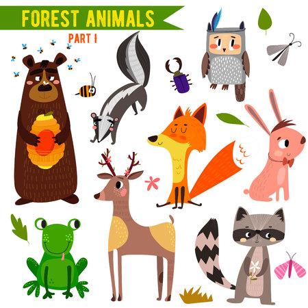 동물: 귀여운 숲과 숲 동물의 집합입니다. 일러스트
