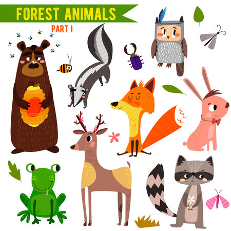 cartoon rabbit: Set of Cute Woodland and Forest Animals.  Illustration