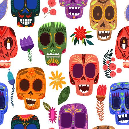 calavera: Día-Modelo mexicano inconsútil de los muertos. Calaveras y flores lindas en un estilo colorido.