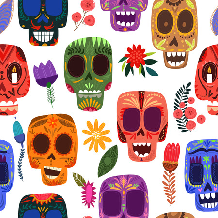 Seamless pattern-Mexican day of the dead. Cute skulls and flowers  in a colorful style. Иллюстрация