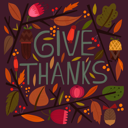 give: Happy Thanksgiving Day card in bright summer colors.