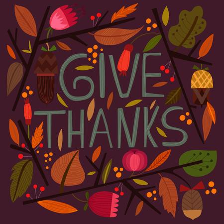 accion de gracias: Tarjeta feliz del día de Acción de Gracias en colores brillantes del verano.