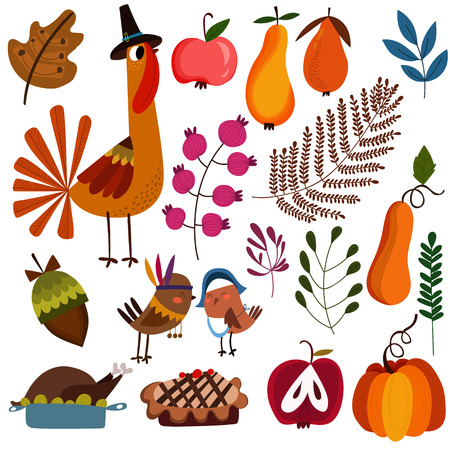 turkey: Lovely colorful design elements for Thanksgiving.